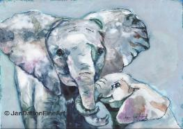 Mother Elephant and Baby Elephant Watercolor on Yupo