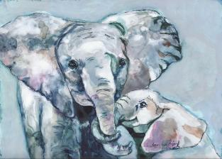 Watercolor on Yupo Paper Elephant Art Wildlife Jan Dalton Fine Art Charleston SC
