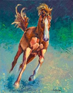 Freedom Horse Mixed Media Acrylic Painting Art Jan Dalton Fine Art Charleston SC