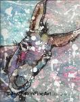 donkey orginal animal art watercolor batik on rice paper