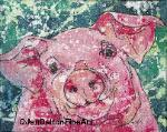 Batik watercolor rice paper pig farm animal art