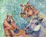 Horse Caricature Watercolor Batik on Rice Paper Wild Animals