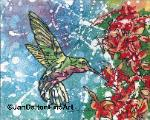 Hummingbird Batik watercolor on rice paper bird art