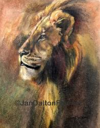 Oil Pastel Drawing Majestic Lion