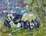 Panda Batik watercolor rice paper original art Jan dalton