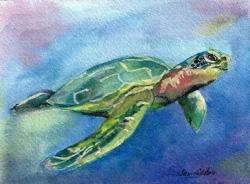 Logger Head Sea Turtle Watercolor Painting Jan Dalton Fine Art Charleston South Carolina