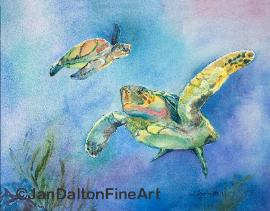 Watercolor Turtles Two Logerhead Sea Life